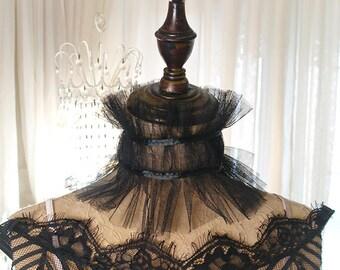 Elizabeth Goth Spitze Tüll Hals Kragen viktorianischen Edwardian Ruff Halsstück Bowknot Choker Halskette Gothic Lolita steampunk