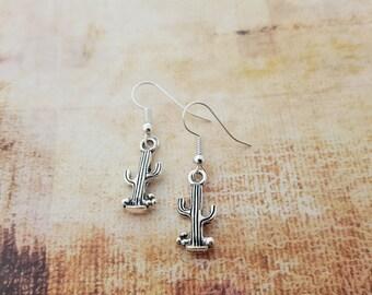 Cactus Earrings, Silver Cacti Earrings, Crystal Jewellery, Western Jewelry, Plant Earrings, Dangle Earrings, Saguaro Cactus, Desert Earrings