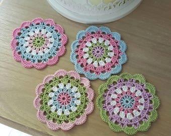 4 Shabby Chic Crochet Coasters