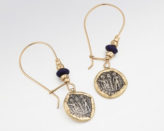 Coin earrings, Oxidized silver coin Earrings, Gold filled Earrings, Ancient coin jewelry, Statement Earrings, FREE SHIPPING