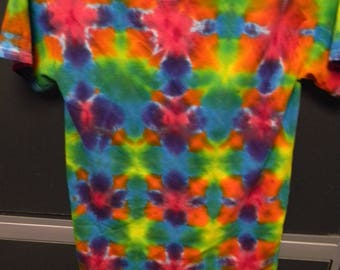 Adult Small Tee Shirt 100% Cotton Tie Dye Flag Fold Short Sleeve