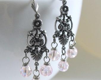 Pink Earrings, Chandelier Earrings, Statement Earrings, Bridesmaid Jewelry, Flea Market Fancy, Country Living,Romantic Earrings,Pink Wedding