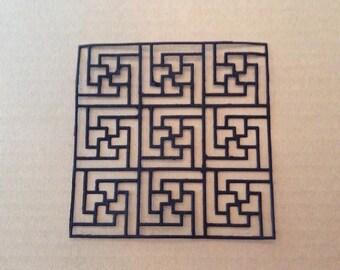 Square Lattice (3) paper die cut embellishment