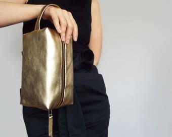 Leather cosmetic bag gold. Women toiletry bag. Make up purse shiny leather. Cosmetic organizer leather.
