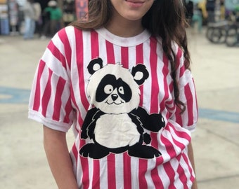 Vintage Vertical Striped T-shirt W/ Front Panda Graphic Design