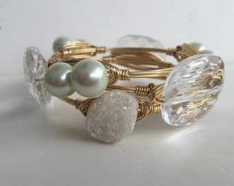 Druzy Pearl Crystal Wire Wrapped *Bourbon  and Boweties Inspired* Bangle Bracelets