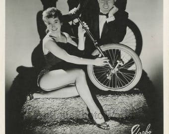 Ray and Anita unicycle bicycle circus act duo vintage photo
