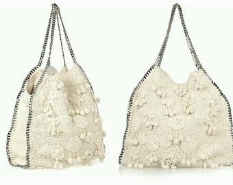 White  crochet bag, Crochet handbag, Summer knit handbag, bags, Cotton handbag, Women's handbag