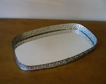 "Lovely SILVER filigree vanity mirror -dresser  tray -UNIQUE shape -13 1/2"" x 8"" -jewelry tray -mirrored vanity tray- perfume tray -wedding"