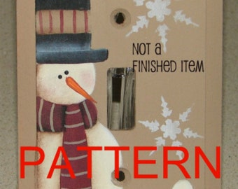 snowman painting pattern, switch plate cover pattern, Christmas pattern, tole painting, decorative painting, prim patterns, folk art