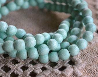 100pcs Sea Foam Wood Natural Beads 8mm Round Macrame Bead