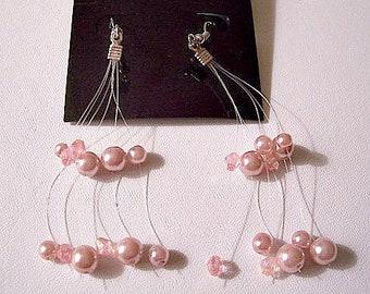 Pink Pearl Floating Pierced Earrings Silver Tone Vintage Long Assorted Bead Dangles