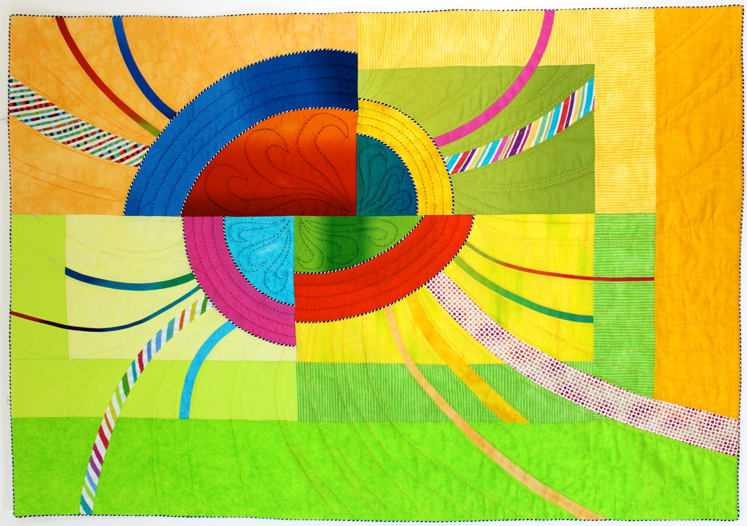 Fractured Sunrise Modern Art Quilt Quilted Wall Hanging Wall