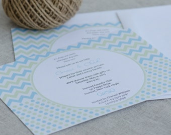 Baby Shower Invitations - Baby Shower Invites Neutral - Chevron Baby Shower Invitation - Geometric Baby Shower Invites - Gender Reveal