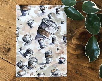 ORIGINAL ARTWORK - Watercolor PRINT - Coffee Decor - Coffee Art - Watercolor Painting - Watercolor Art - Wall Art - Coffee - Coffee Painting