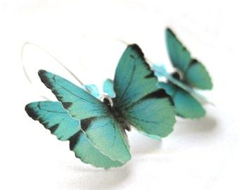 Almost Real Butterfly Earrings Paper Butterfly Jewelry Teal Blue Dangle Earrings Unique Handmade Jewelry