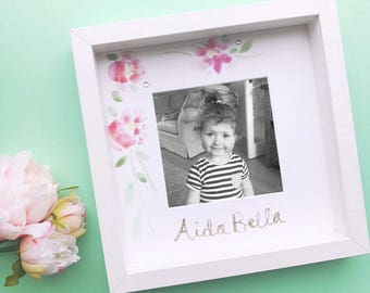 Personalised Girls Frame- Hand Painted Watercolour Flowers- Gold Glitter Name- New Baby- Christening Gift- Free Photo Printing