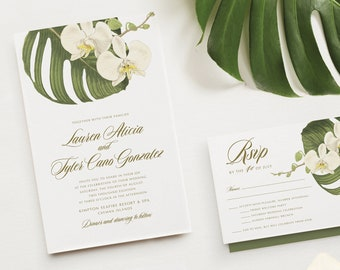 ORCHID Palm Leaf Wedding Invitation | Tropical Palm Fronds | Hawaii Bali Mexico Beach Destination Wedding Invitations | Palm Leaf Invites