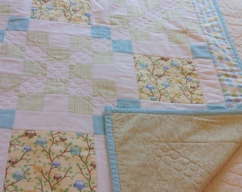 Handmade Baby Quilt - Owls with Flannel backing