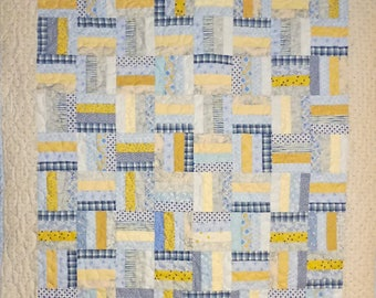 Patchwork Quilt - blue and yellow Rail Fence baby quilt