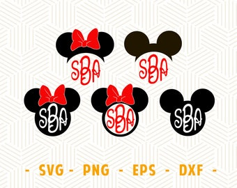 Mouse monogram SVG eps dxf Bow mouse ears Mouse ears monogram svg Mouse ears svg Cutting file