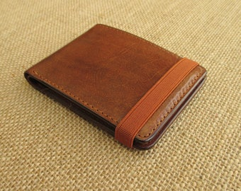 Leather bifold wallet, handmade minimalist wallet, thin cardholder, slim wallet, with elastic band