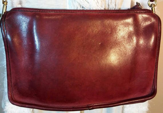 Burgundy Vintage Coach Envelope Bag