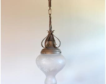 A7484 Antique Circa 1915 Wheelcut Globe With nickel plated Pendant Ceiling Light fixture