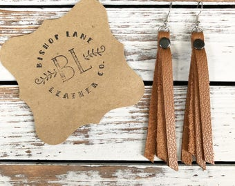 Leather Tassel earrings - Fawn