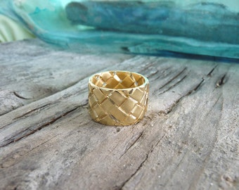 18k Gold Ring - Handmade Ring - Warp and Woof - Gold Plated Ring | Handcrafted Jewelry