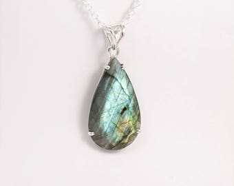 Faceted Labradorite necklace sterling silver Labradorite teardrop pendant Boho chic jewelry Gift for her