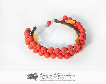 Bracelet Rowan Berries - Polymer Clay Flowers- Mothers Day Gift for Women Pink Gift For Her Flower Rowan