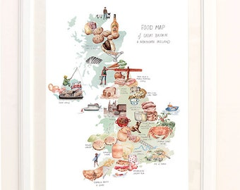 Food Map of the United Kingdom. Signed Limited Edition Giclee Print of an Original Illustration.