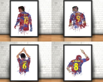 Barcelona Tiki Taka Art Prints Set Of 4, Football Art, Mancave Decor, Boys Room Decor, Barca, Footy, Messi, Suarez, Xavi, Iniesta