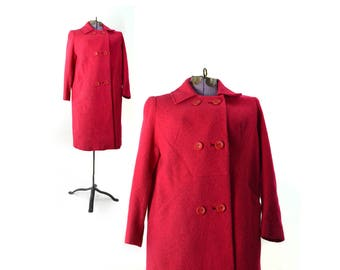 Red Coat,  Small 60s coat, Spring Jacket, Red Vintage Coat,60s coat, Red Jacket, Womens Coat