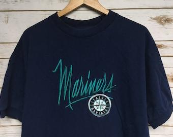 Vintage 90's Seattle Mariners baseball tshirt navy blue embroidered Mariners baseball tee ringer t-shirt Ken Griffey Jr era - XL