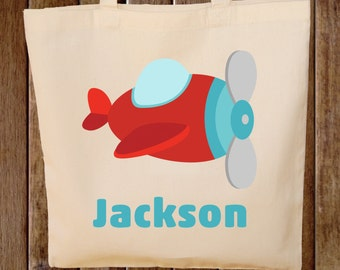 Toy Tote Bag  -- Boys Tote Bag -- Kids Tote Bag  --  Plane Bag