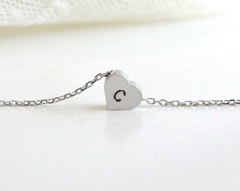 Personalized initial heart necklace, initial jewelry