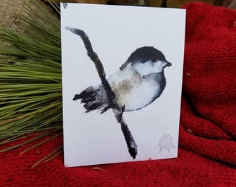 Chickadee Note Cards (6 Cards/Inside Blank - Envelope with Six Envelope Seals)