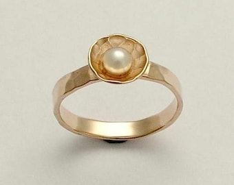 Solid Gold Pearl engagement ring, pearl ring, white gold ring, yellow gold ring, two-tone ring, hammered ring - Pure and innocent. RG1324A