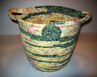 Handmade Coil basket, large clothesline  storage basket, vintage style  coiled fabric basket, handles   yellow  green floral country basket