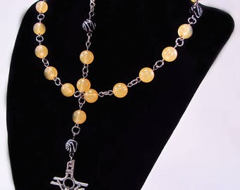 Rosary, Peach Jelly Beads, Black Swirls, Acrylic, Religious, Spiritual, Silver Tone Metal, Catholic, Prayer, Necklace, Free Shipping