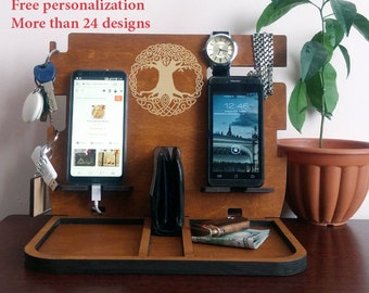 Wooden Twin Docking Station Personalization Charging Docking Station Dual Docking Station Organizer Wood Docking Station for 2 iPhones Stand