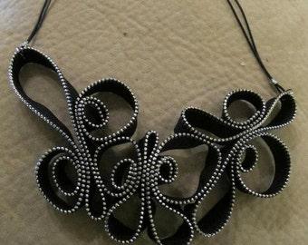 Necklace of zippers, Handmade