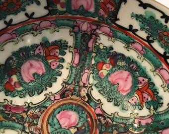 Vintage Famile Rose medallion decorative bowl