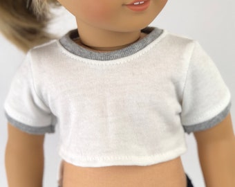 18 Inch Doll Clothes | White with Gray Ringer Crop TOP T-Shirt for 18 Inch Doll such as AG