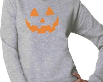 Orange Jack O' Lantern Pumpkin Face Halloween Costume Women Sweatshirt