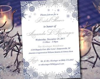 "Winter Bridal Shower Invitation Template - Snowflake Wedding Shower Template - ""Ornate Snowflakes"" Navy Silver Bridal Shower"