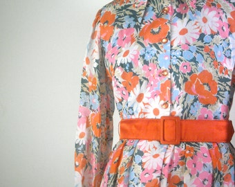 Vintage Floral Print Maxi Dress 1960s Day Dress Long Sleeve Semi Sheer