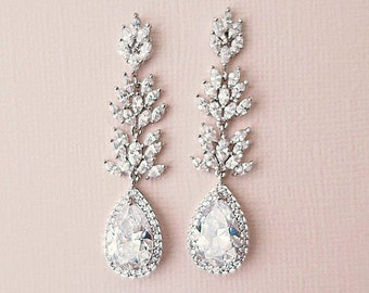 Bridal Earrings Crystal Wedding Earrings Swarovski Bridal Jewelry Crystal Drop Earrings Long Chandelier Earrings for Bride KARENA CZ Leaf